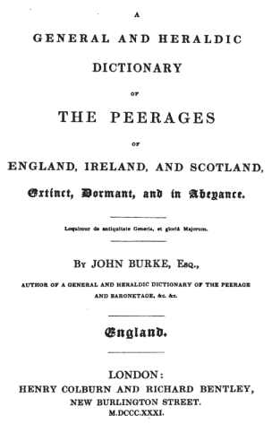A general and heraldic dictionary of the peerages of England, Ireland and Scotland