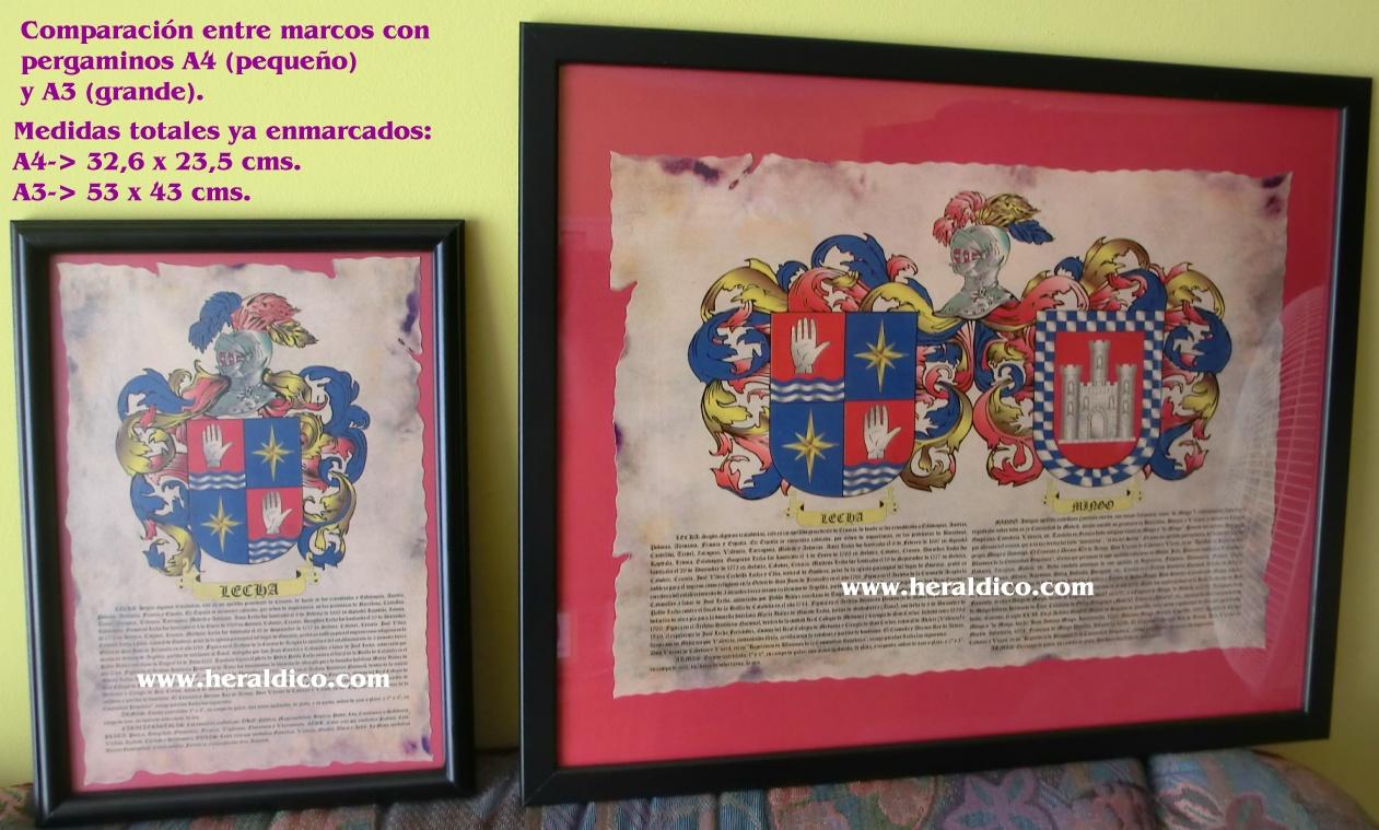 Muestras de pergaminos de heraldica enmarcados con escudos y apellidos