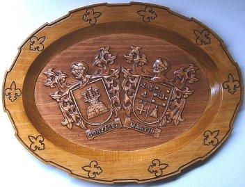 Plato de madera para bodas de oro