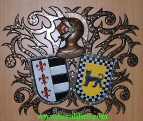 heraldica en madera policromada